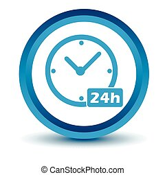 Blue Clock icon on a white background. Vector illustration