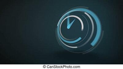 Blue clock ticking at speed