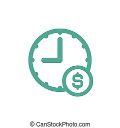 blue clock with dollar sign. Flat icon isolated on white.