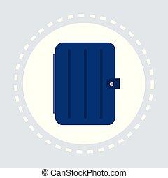 blue closed organiser notepad shopping icon logo flat vector...