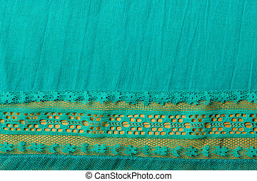 Blue cloth background with lace