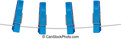 Blue clothespins on a string. Isolated on white. EPS 8, AI,...