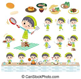 blue clothing boy_cooking - A set of boy about cooking.There...