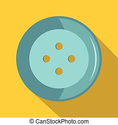 Blue clothing button icon, flat style