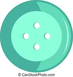 Blue clothing button icon isolated