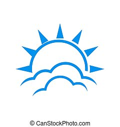 simple useful bright sun and cloud logo a clear sky icon design vector graphic concept illustrations