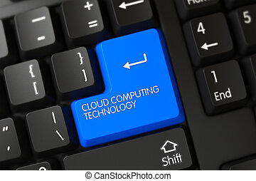 Blue Cloud Computing Technology Keypad on Keyboard. 3D.