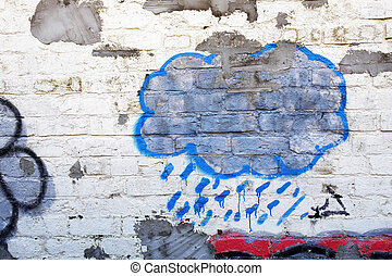Blue cloud graffiti