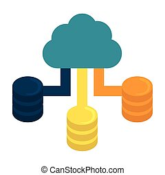 Blue cloud hosting data center image, vector illustration