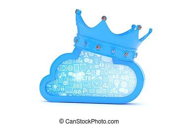 Blue cloud icon. 3D rendering.