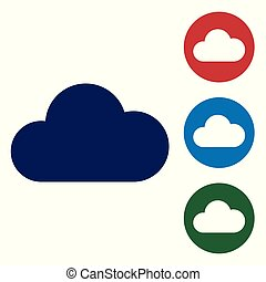 Blue Cloud icon isolated on white background. Vector Illustration