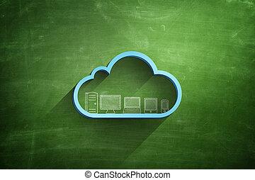 Blue cloud icon on blackboard