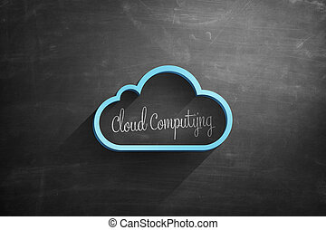 Blue cloud icon on blackboard with cloud computing text