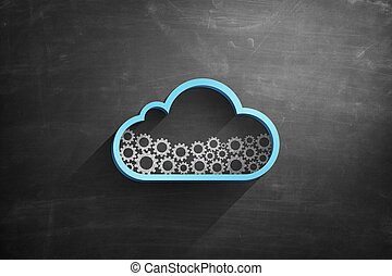 Blue cloud icon on blackboard with cogwheels