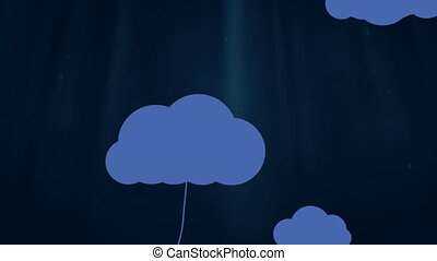 Animation of blue cloud icons with dangling home, computer, smartphone, lightbulb and tablet computer icons on dark blue background. Global networking and cloud computing.