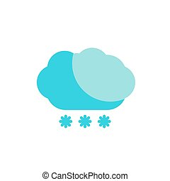 blue cloud snow colored flat icon