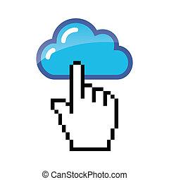 Blue cloud with cursor hand vector