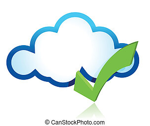 Blue cloud with green tick mark illustration design