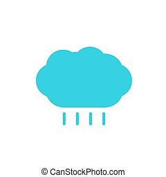 blue cloud with rain colored flat icon
