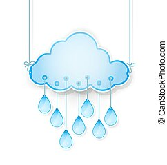 blue cloud with rain drops hanging on white. vector illustration