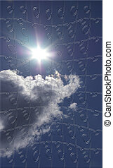 Blue clouded sky puzzle with piece missing