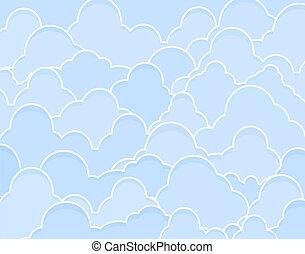 Background illustration of blue cumulus clouds