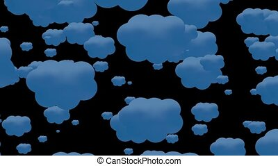 Blue clouds on black