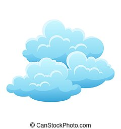 Blue clouds on white background.