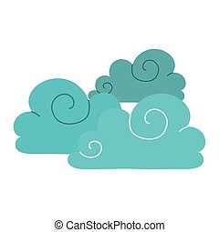 blue clouds sky climate cartoon isolated icon style