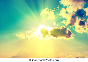 Blue clouds, sun and sky. Natural background, image with...
