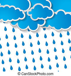 blue clouds with rain drops on a wh