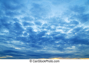 blue cloudy sky in evening