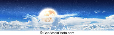 Blue cloudy sky night