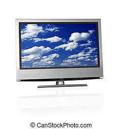 blue cloudy sky on flat screen tv