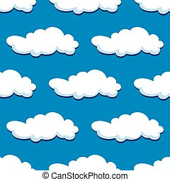 Blue cloudy sky seamless pattern