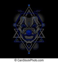 Blue Clown Geometry Style