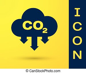 Blue CO2 emissions in cloud icon isolated on yellow background. Carbon dioxide formula symbol, smog pollution concept, environment concept. Vector Illustration