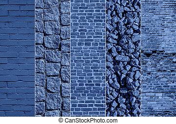 Blue cobblestone sidewalk texture collage.