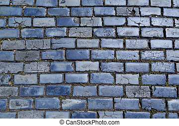 blue cobblestones - blue cobblestone paved street in Old San...