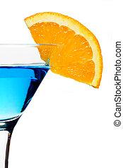 Blue cocktail drink with orange slice