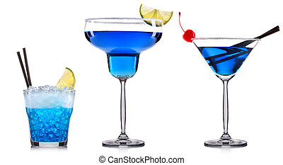 Blue cocktail in glass isolated on white