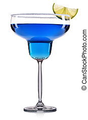 Blue cocktail in margarita glass isolated on white...