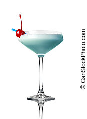 blue cocktail isolated on white