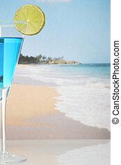 Blue cocktail on beach