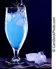 Blue cocktail on black background 2.