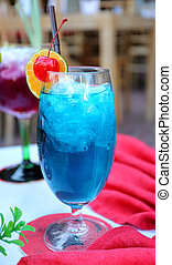 blue cocktail - sweet tasty blue cocktail in a restaurant...