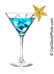 Blue cocktail with carambola in martini glass. Isolated on...