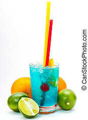 Blue cocktail with cherries, mango, orange, lime, grapefruit on an isolated background