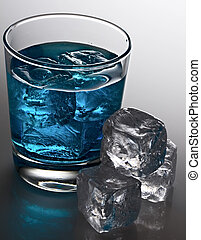 Blue cocktail with ice cubes