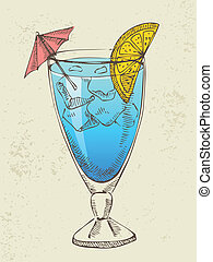 Blue cocktail with ice.